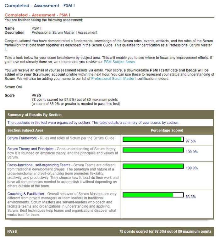 Professional Scrum Master 97.5% score