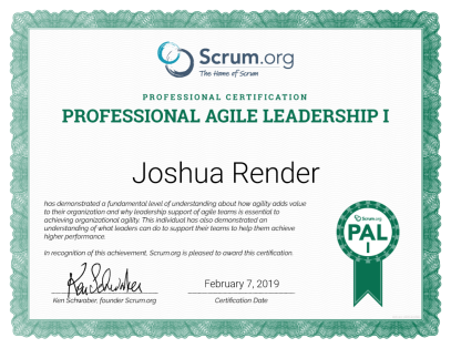 Professional Agile Leadership - PAL I