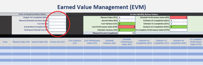 Earned Value Excel Template